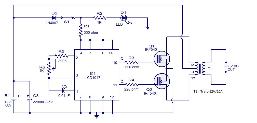 89bbe rangkaian inverter 100 wattg inverter adalah perangkat elektrika yang digunakan untuk mengubah arus listrik searah dc menjadi arus listrik bolak balik ac ccuart Choice Image
